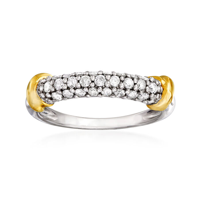 .50 ct. t.w. Diamond Three-Row Ring in Sterling Silver with 14kt Yellow Gold