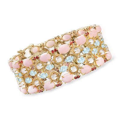 8x6mm Pink Opal and 24.45 ct. t.w. Multi-Gemstone Bracelet in 18kt Gold Over Sterling , , default