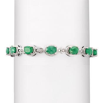 9.10 ct. t.w. Emerald Bracelet in Sterling Silver