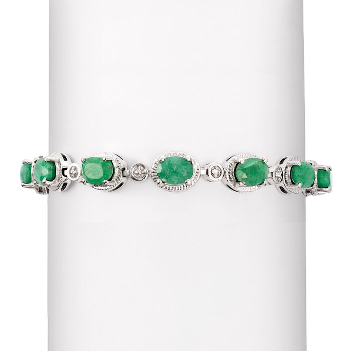9.10 ct. t.w. Emerald Bracelet with Diamond Accents in Sterling Silver