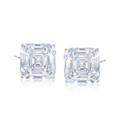 6.00 ct. t.w. Asscher-Cut CZ Stud Earrings in 14kt White Gold, , default