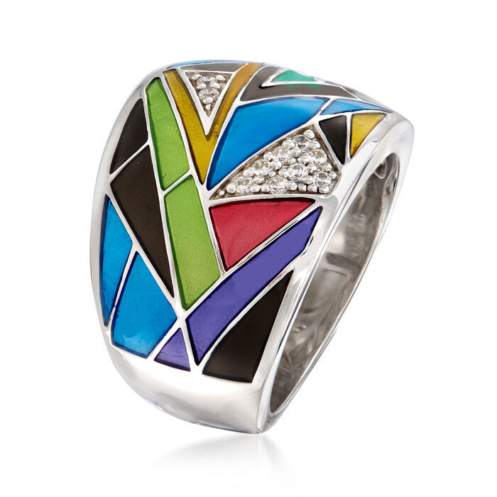 """Belle Etoile """"Chromatica"""" Black and Multicolored Enamel Ring with .11 ct. t.w. CZs in Sterling Silver"""