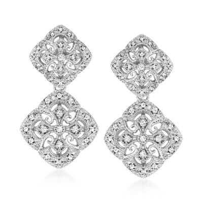 .25 ct. t.w. Diamond Filigree Drop Earrings in Sterling Silver