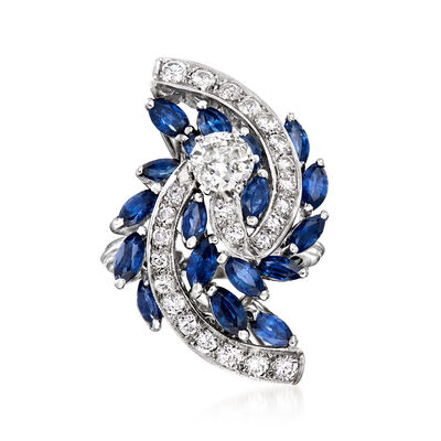 C. 1970 Vintage 2.70 ct. t.w. Sapphire and 1.45 ct. t.w. Diamond Swirl Ring in 14kt White Gold