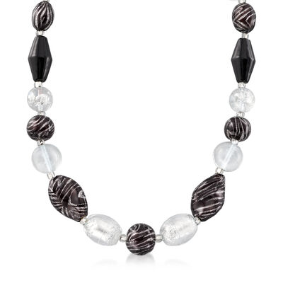 4-20mm Zebra-Print Murano Glass Bead Necklace with Sterling Silver