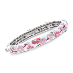 "Belle Etoile ""Constellations: Sakura"" Pink Enamel and .54 ct. t.w. CZ Bangle Bracelet in Sterling Silver, , default"