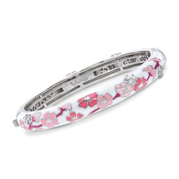 "Belle Etoile ""Constellations: Sakura"" Pink Enamel and .54 ct. t.w. CZ Bangle Bracelet in Sterling Silver. 7"", , default"