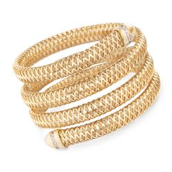 "Roberto Coin ""Primavera"" .20 ct. t.w. Diamond Wrap Bracelet in 18kt Yellow Gold. 7"", , default"