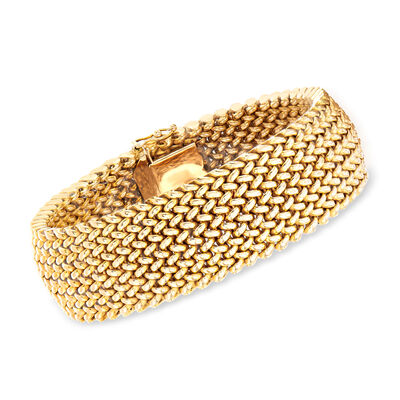 C. 1980 Vintage 14kt Yellow Gold Wide Mesh Bracelet, , default