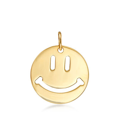 14kt Yellow Gold Smiley Face Pendant, , default