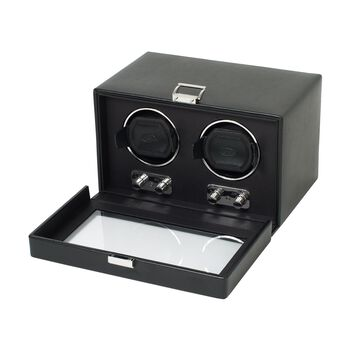 """Heritage"" Black Faux Leather Double Watch Winder With Cover by Wolf Designs, , default"