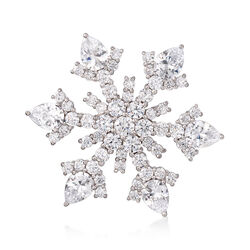 2.00 ct. t.w. CZ Snowflake Pin in Sterling Silver, , default