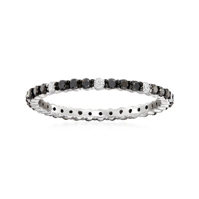 .50 ct. t.w. Black and White Diamond Eternity Band in 14kt White Gold