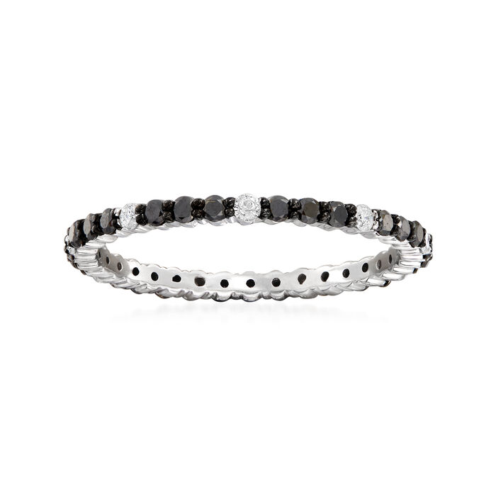 .50 ct. t.w. Black and White Diamond Eternity Band in 14kt White Gold, , default