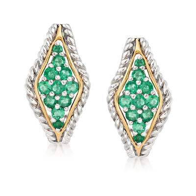 .68 ct. t.w. Emerald Earrings in Sterling Silver and 14kt Yellow Gold
