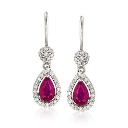 "1.00 ct. t.w. Ruby and .52 ct. t.w. Diamond Drop Earrings in 14kt White Gold. 7/8"", , default"