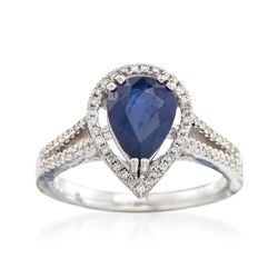 1.80 Carat Sapphire and .44 ct. t.w. Diamond Ring in 18kt White Gold, , default
