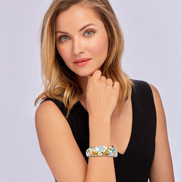 """Belle Etoile """"Serengeti"""" Ivory and Multicolored Enamel Bangle Bracelet with CZ Accents in Sterling Silver"""
