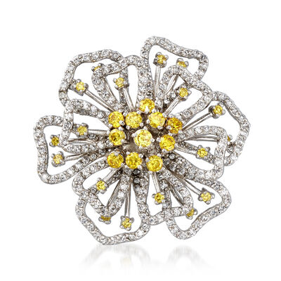 Yellow CZ and 6.00 ct. t.w. White CZ Flower Pin in Sterling Silver, , default