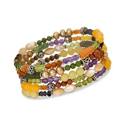 Set of Five Multi-Stone and Sterling Silver Bali Bead Stretch Bracelets , , default