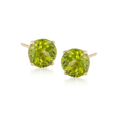 4.00 ct. t.w. Peridot Stud Earrings in 14kt Yellow Gold, , default