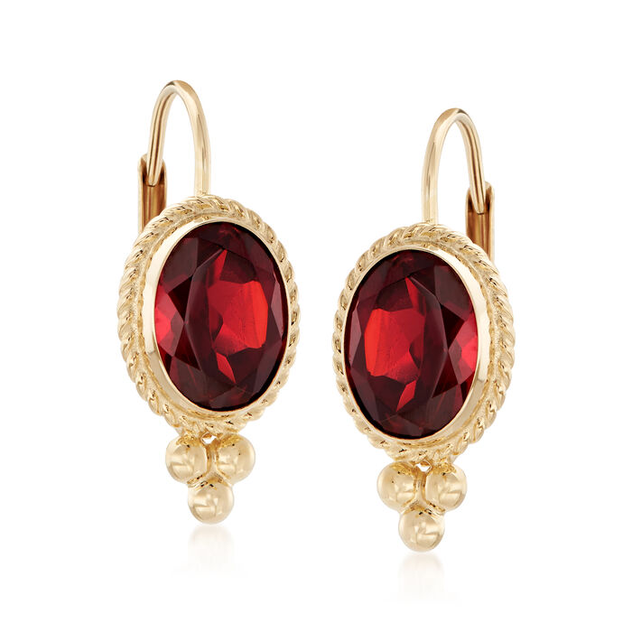 1.60 ct. t.w. Garnet Rope Edge Earrings in 14kt Yellow Gold, , default