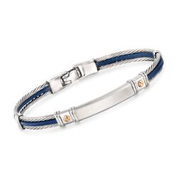 ALOR Men's Blue Leather and Stainless Steel Cable Bracelet With 18kt Yellow Gold, , default