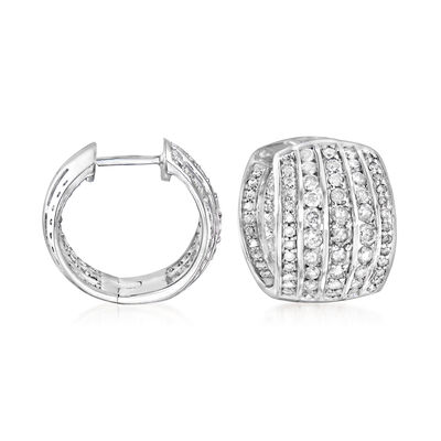 2.00 ct. t.w. Diamond Five-Row Hoop Earrings in Sterling Silver