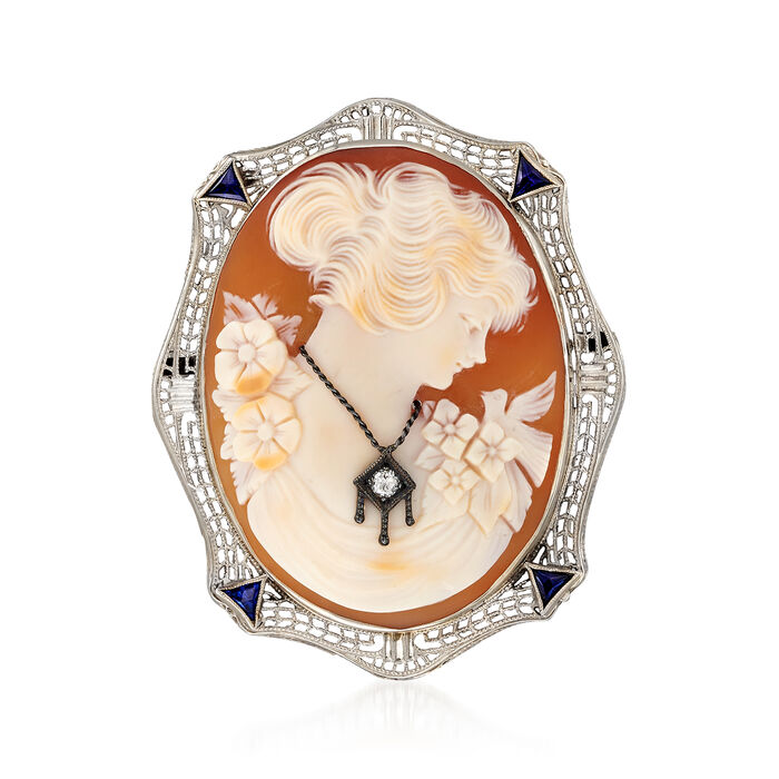C. 1950 Vintage Diamond-Accented Pink Shell Cameo and .15 ct. t.w. Synthetic Sapphire Pin Pendant in 14kt White Gold