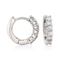 Roberto Coin .70 ct. t.w. Diamond Hoop Earrings in 18kt White Gold, , default