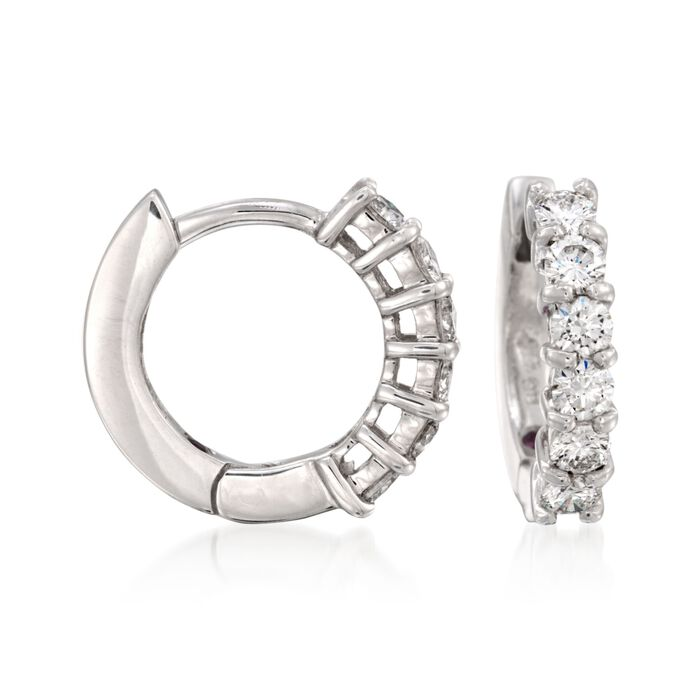 "Roberto Coin .70 ct. t.w. Diamond Hoop Earrings in 18kt White Gold. 1/2"", , default"