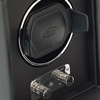 """Heritage"" Black Faux Leather Single Watch Winder with Cover by Wolf Designs"