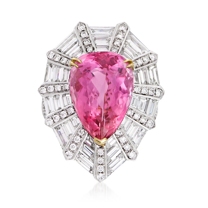 Certified 11.00 Carat Pink Topaz and 3.30 ct. t.w. Diamond Cocktail Ring in 18kt Two-Tone Gold