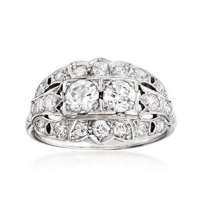 C. 1950 Vintage 1.20 ct. t.w. Double-Diamond Center Ring in Platinum, , default