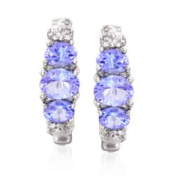 "1.30 ct. t.w. Tanzanite and .20 ct. t.w. White Topaz Earrings in Sterling Silver. 5/8"", , default"