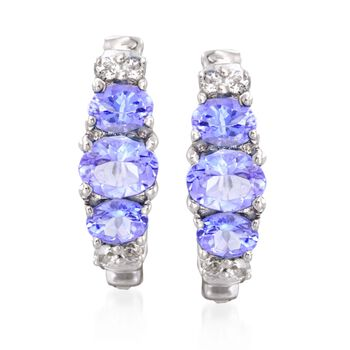 """1.30 ct. t.w. Tanzanite and .20 ct. t.w. White Topaz Earrings in Sterling Silver. 5/8"""", , default"""