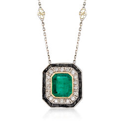 """C. 1930 Vintage 5.38 Carat Emerald Necklace With Diamonds and Black Onyx in Platinum and 18kt Gold. 16.25"""", , default"""