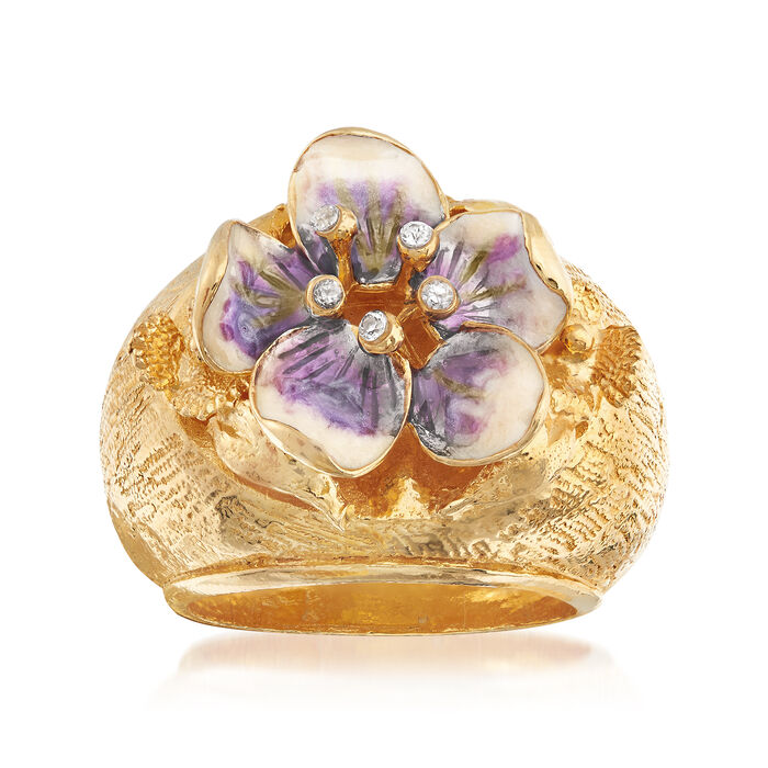 Italian Enamel and CZ Flower Ring in 18kt Yellow Gold Over Sterling Silver, , default