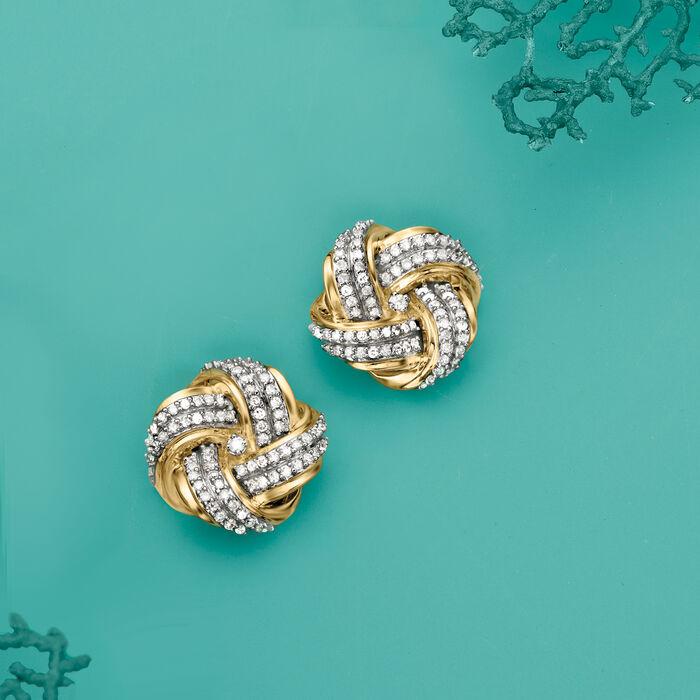 .50 ct. t.w. Diamond Love Knot Earrings in 14kt Yellow Gold