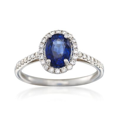 C. 2000 Vintage 1.45 ct. t.w. Sapphire and .34 ct. t.w. Diamond Ring in 18kt White Gold