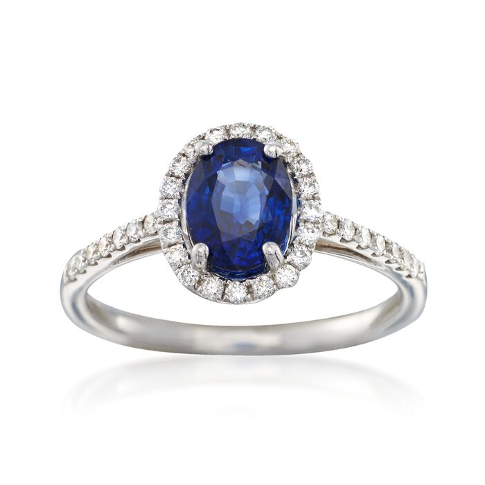C. 2000 Vintage 1.45 ct. t.w. Sapphire and .34 ct. t.w. Diamond Ring in 18kt White Gold. Size 6.5