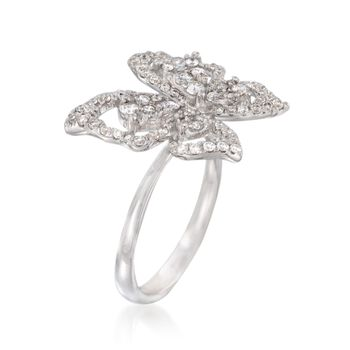 1.00 ct. t.w. Diamond Butterfly Open Space Ring in 14kt White Gold. Size 7, , default