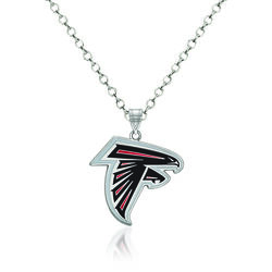 "Sterling Silver NFL Atlanta Falcons Enamel Pendant Necklace. 18"", , default"