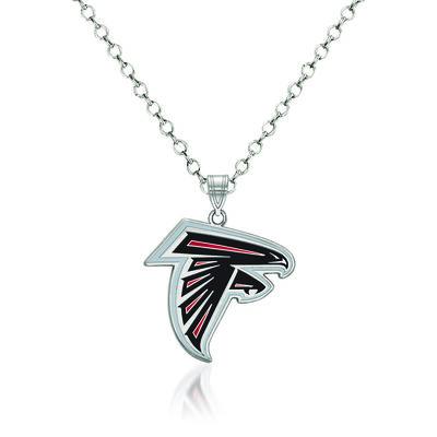 "Sterling Silver NFL Atlanta Falcons Enamel Pendant Necklace. 18"", , default"
