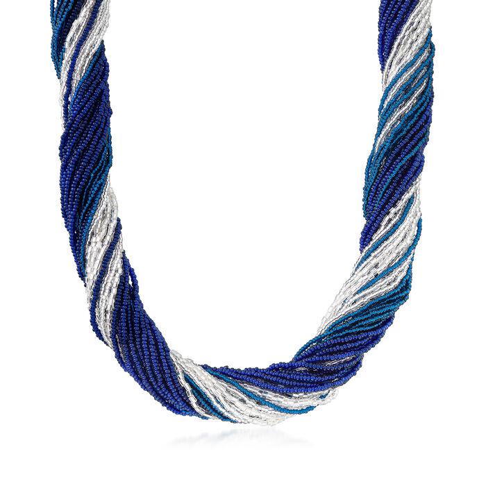 Italian Multicolored Murano Glass Bead Torsade Necklace in Sterling Silver