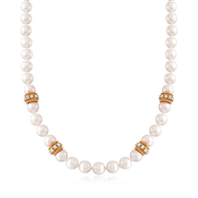 C. 1990 Vintage Cultured Pearl and 2.80 ct. t.w. Diamond Necklace With 14kt Yellow Gold, , default