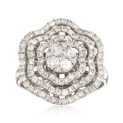 1.25 ct. t.w. Diamond Scalloped Ring in 14kt White Gold, , default
