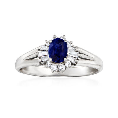 C. 1980 Vintage .53 Carat Sapphire and .22 ct. t.w. Diamond Ring in Platinum