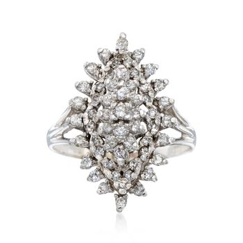 C. 1980 Vintage 1.00 ct. t.w. Diamond Navette Cluster Ring in 14kt White Gold. Size 9.5, , default