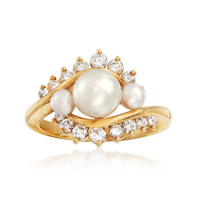 C. 1980 Vintage 3.5-6.5mm Cultured Pearl and .45 ct. t.w. Diamond Ring in 18kt Yellow Gold, , default